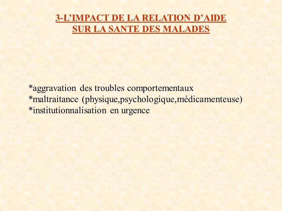 3-L'IMPACT DE LA RELATION D'AIDE SUR LA SANTE DES MALADES