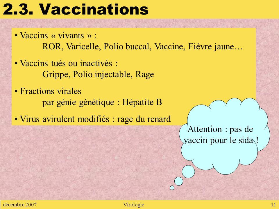 2.3. Vaccinations Vaccins « vivants » : ROR, Varicelle, Polio buccal, Vaccine, Fièvre jaune…