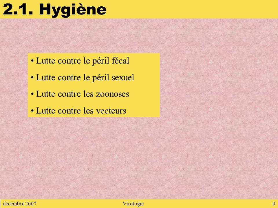 2.1. Hygiène Lutte contre le péril fécal Lutte contre le péril sexuel