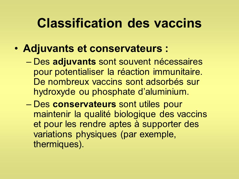 Classification des vaccins