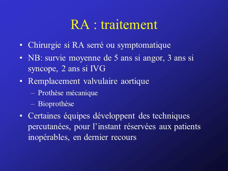 RA : traitement Chirurgie si RA serré ou symptomatique
