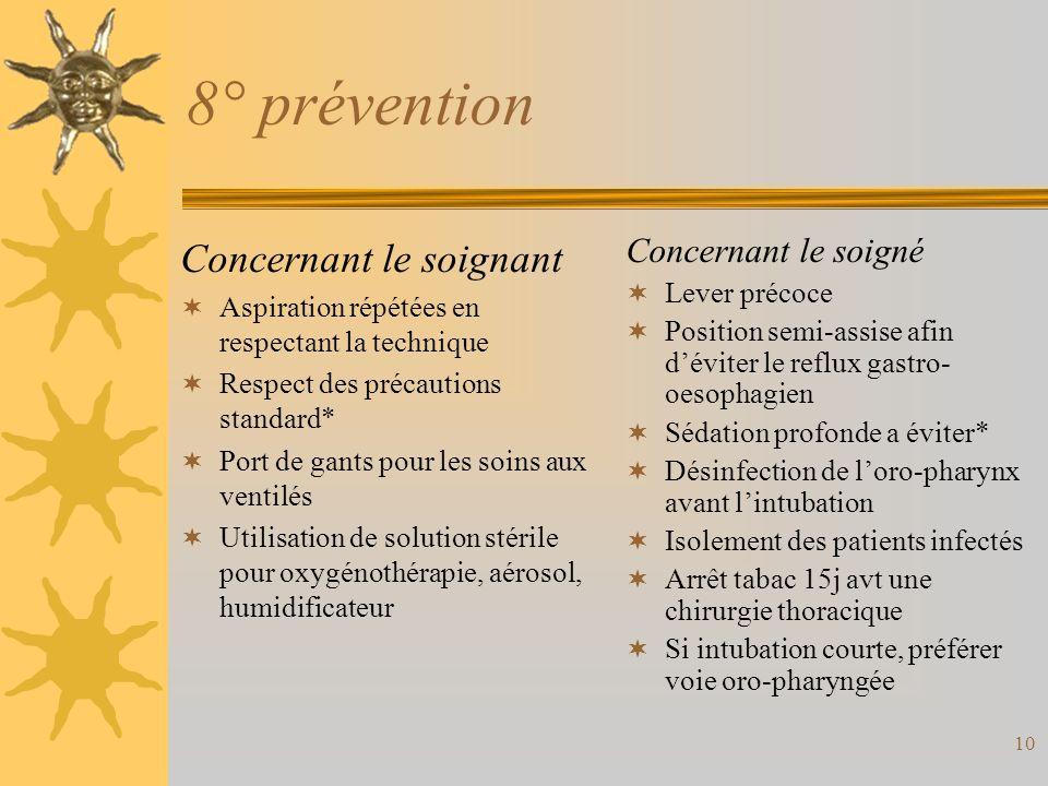 8° prévention Concernant le soignant Concernant le soigné