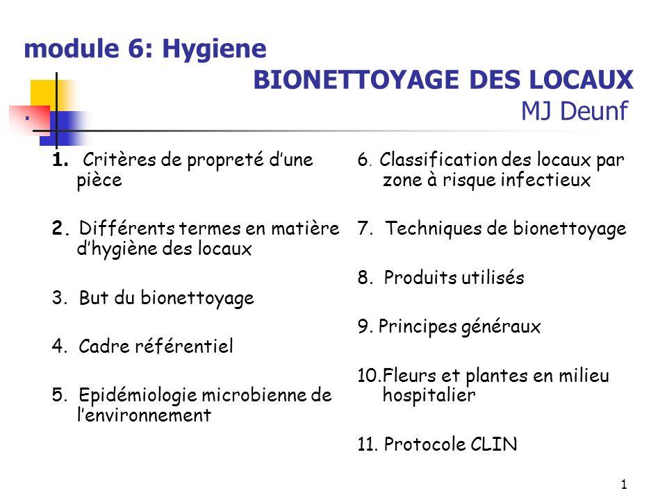 module 6: Hygiene BIONETTOYAGE DES LOCAUX . MJ Deunf