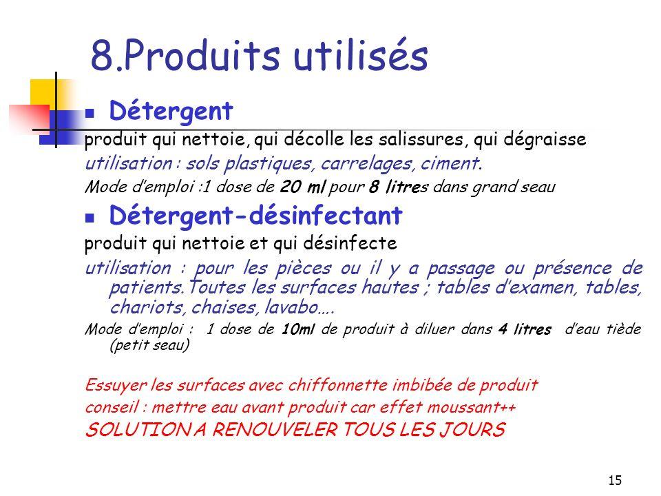 8.Produits utilisés Détergent Détergent-désinfectant