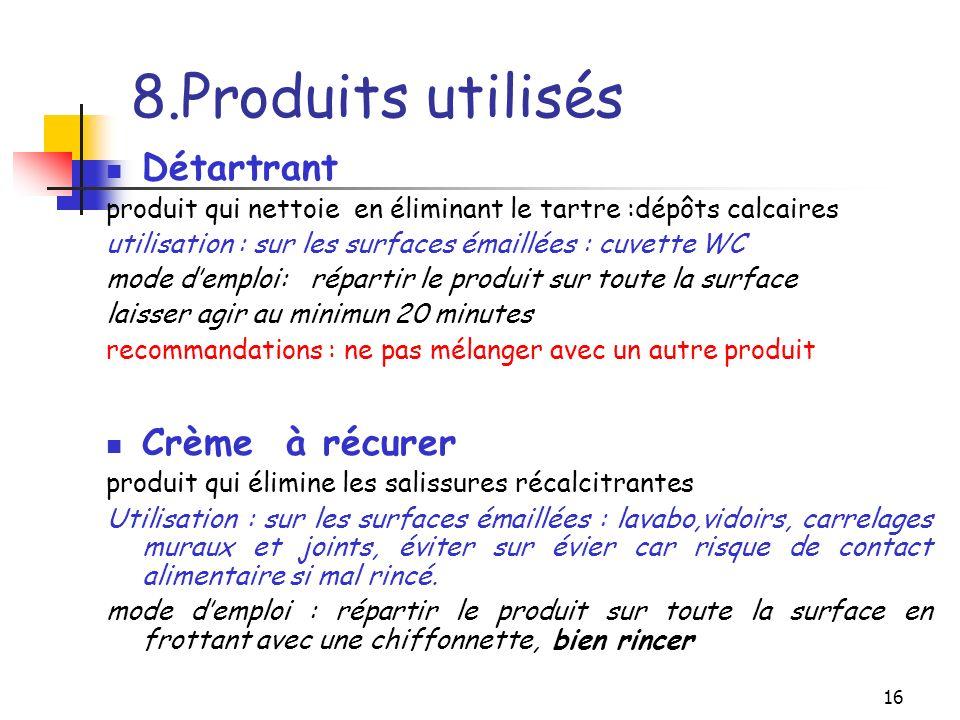8.Produits utilisés Détartrant Crème à récurer