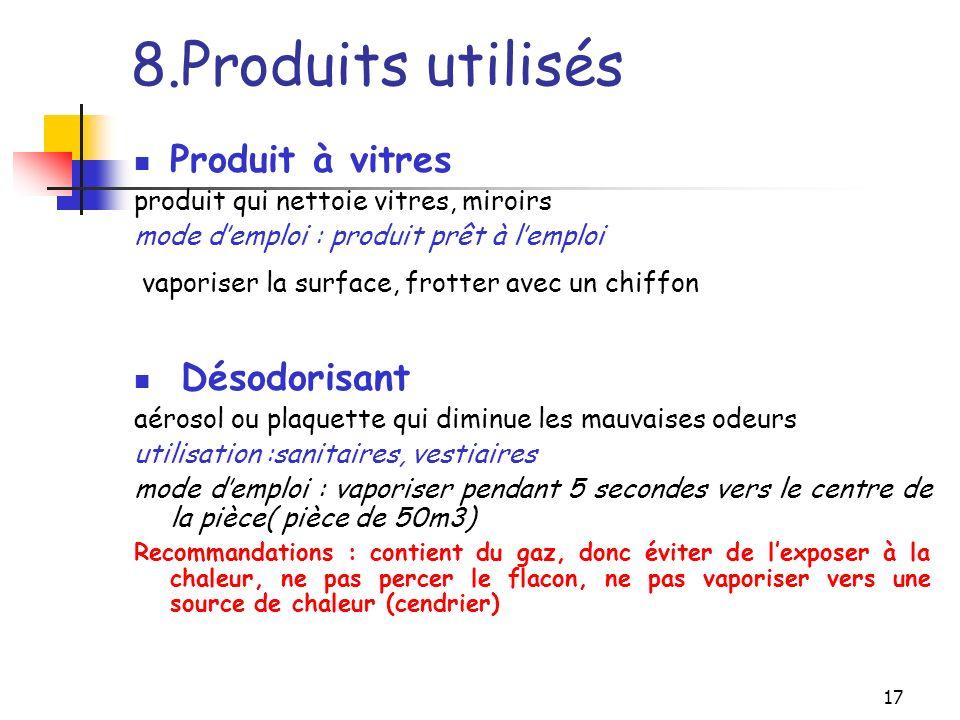 8.Produits utilisés Produit à vitres Désodorisant