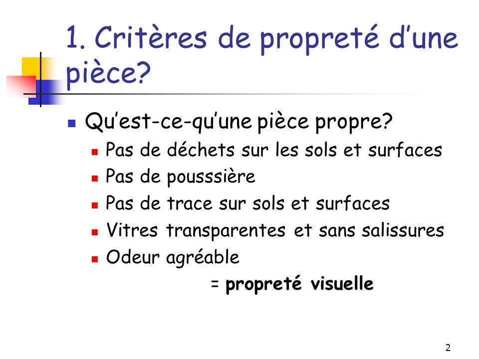 1. Critères de propreté d'une pièce