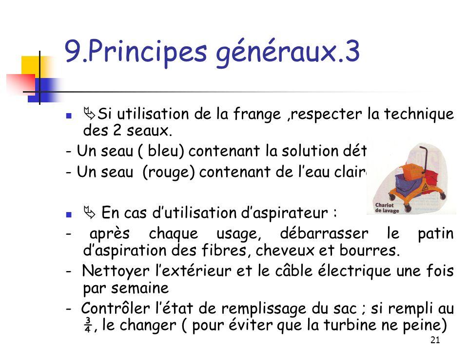 9.Principes généraux.3 Si utilisation de la frange ,respecter la technique des 2 seaux. - Un seau ( bleu) contenant la solution détergente.
