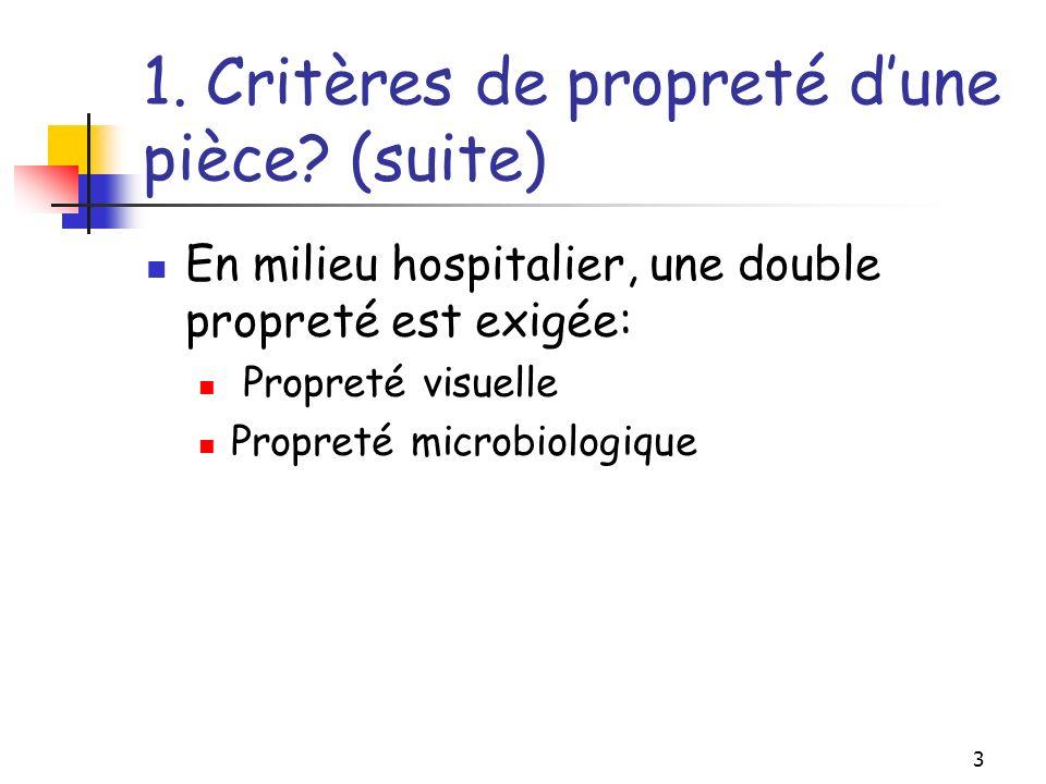 1. Critères de propreté d'une pièce (suite)