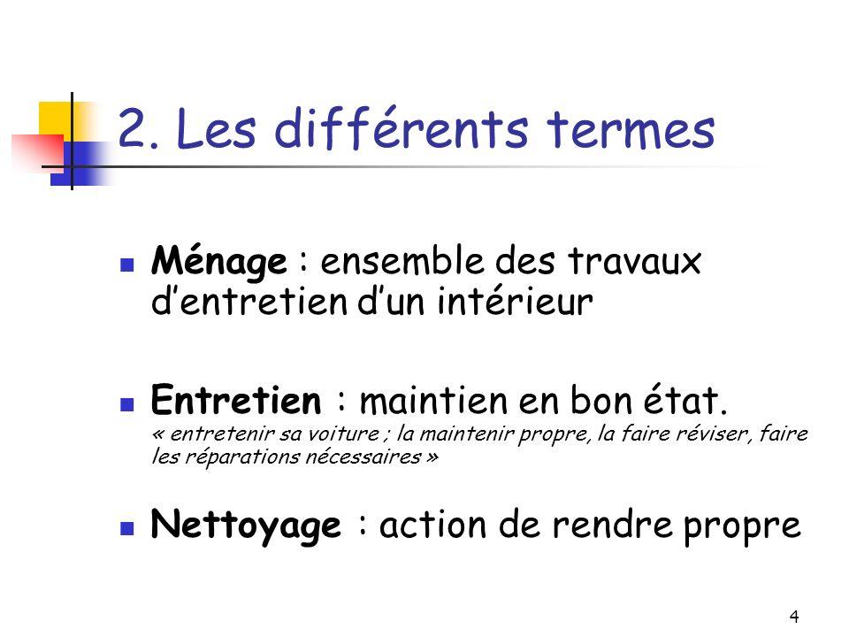 2. Les différents termes Ménage : ensemble des travaux d'entretien d'un intérieur.