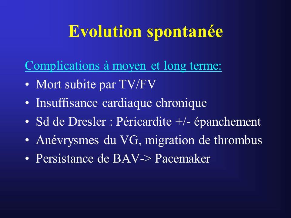 Evolution spontanée Complications à moyen et long terme:
