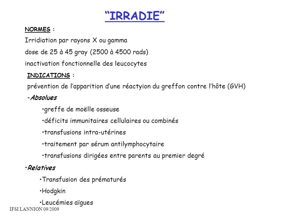 IRRADIE Irridiation par rayons X ou gamma
