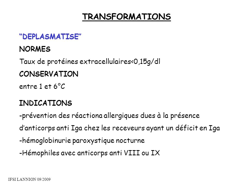 TRANSFORMATIONS DEPLASMATISE NORMES