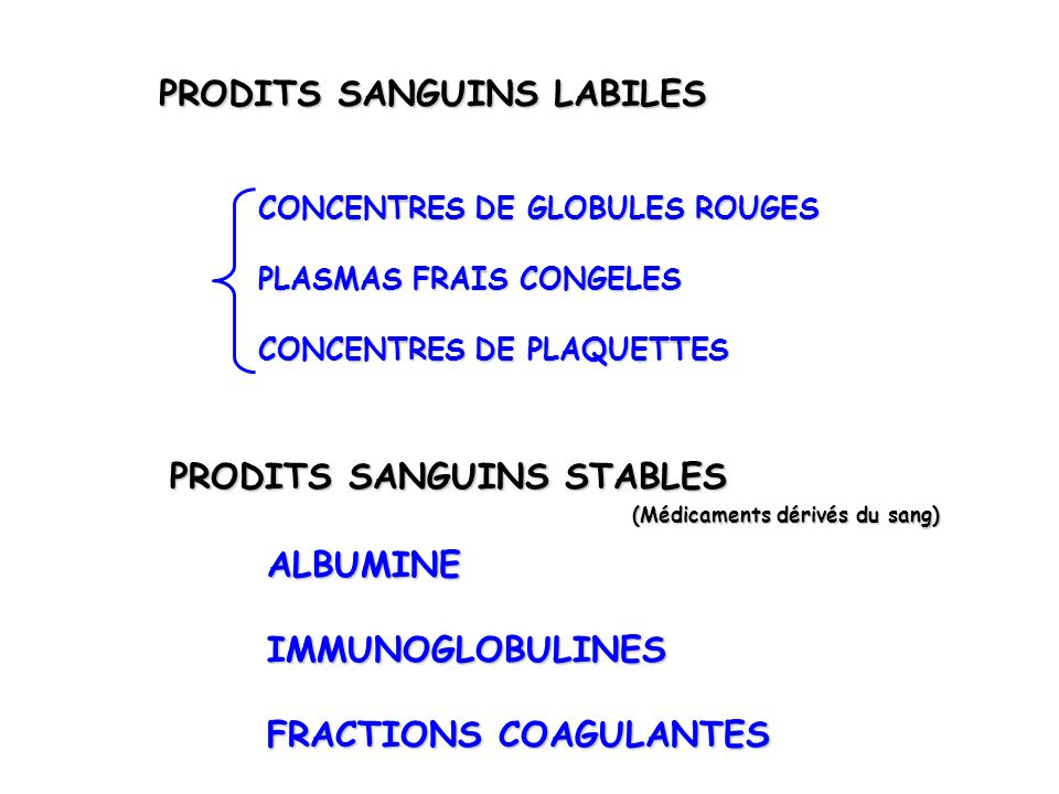 PRODITS SANGUINS LABILES