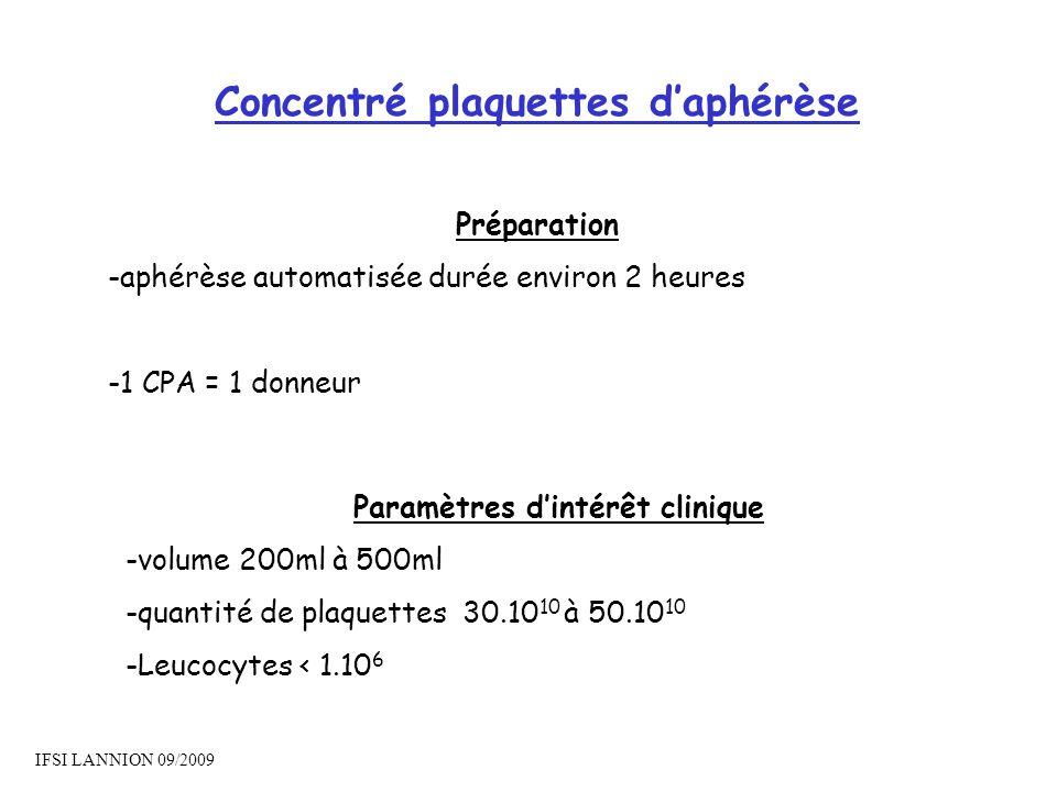 Concentré plaquettes d'aphérèse