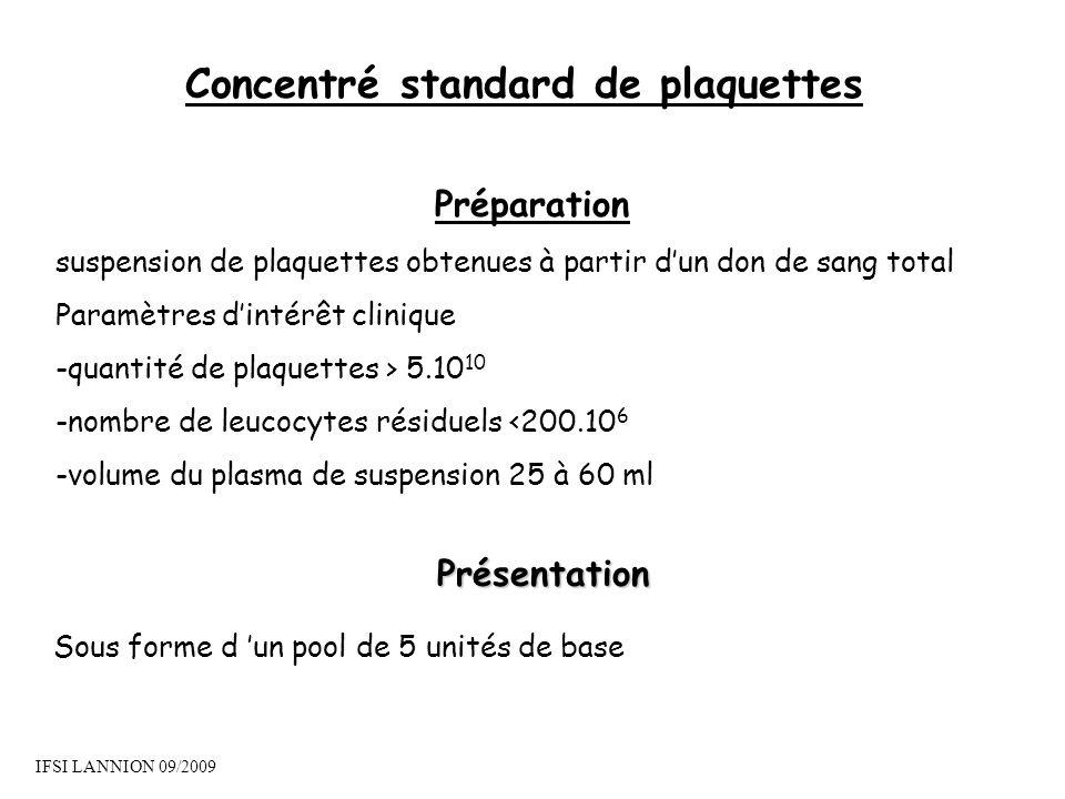 Concentré standard de plaquettes