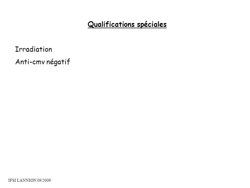 Qualifications spéciales