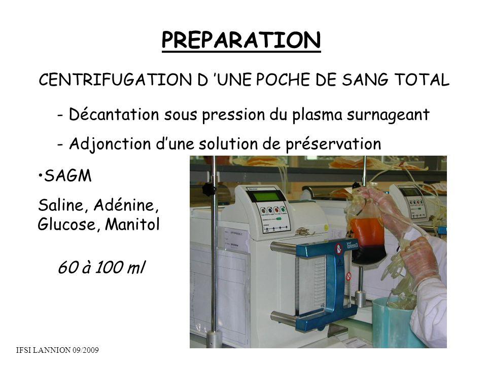 CENTRIFUGATION D 'UNE POCHE DE SANG TOTAL