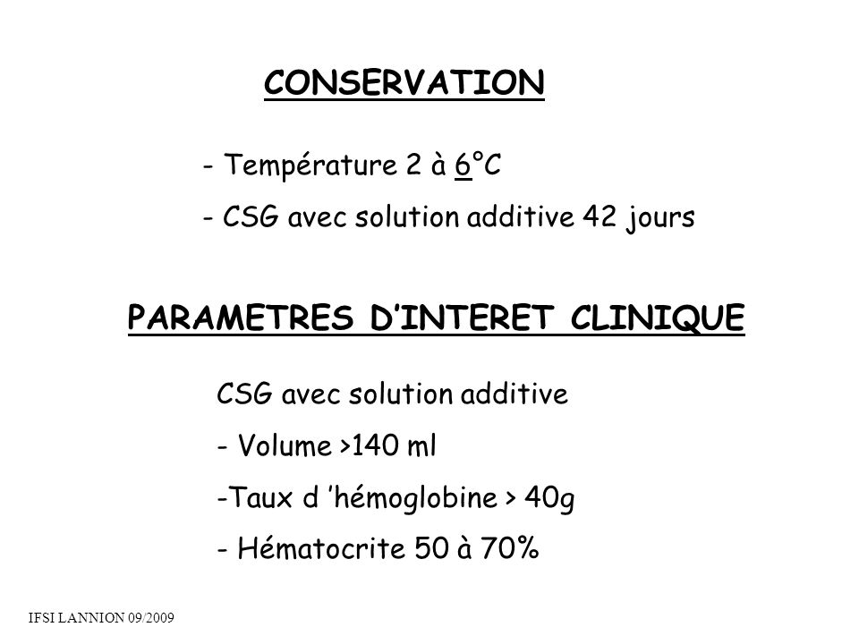 PARAMETRES D'INTERET CLINIQUE