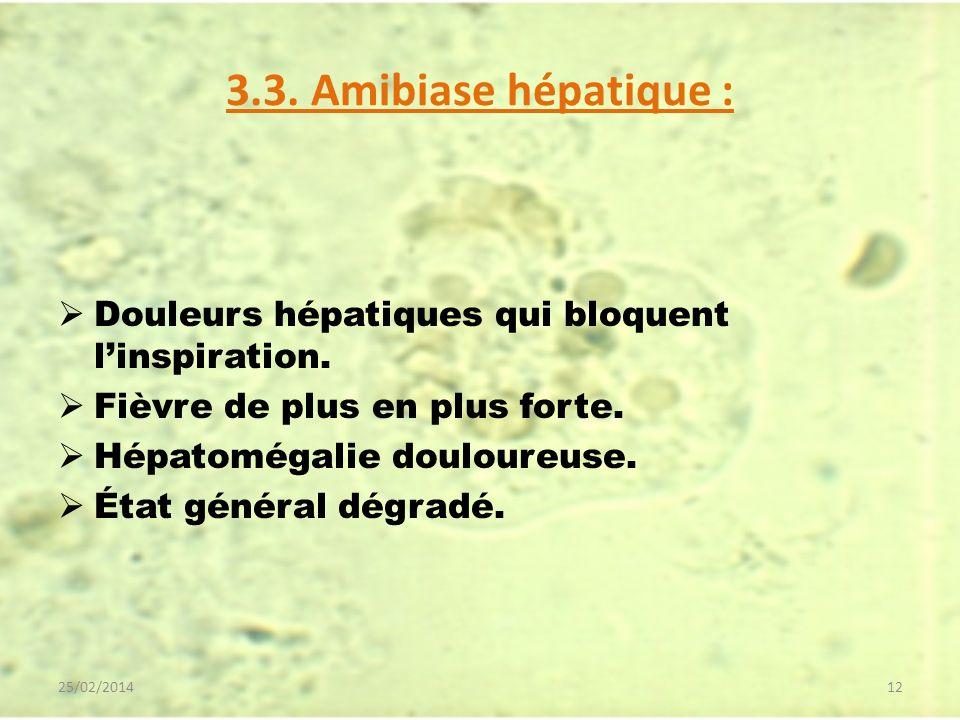 3.3. Amibiase hépatique : Douleurs hépatiques qui bloquent l'inspiration. Fièvre de plus en plus forte.