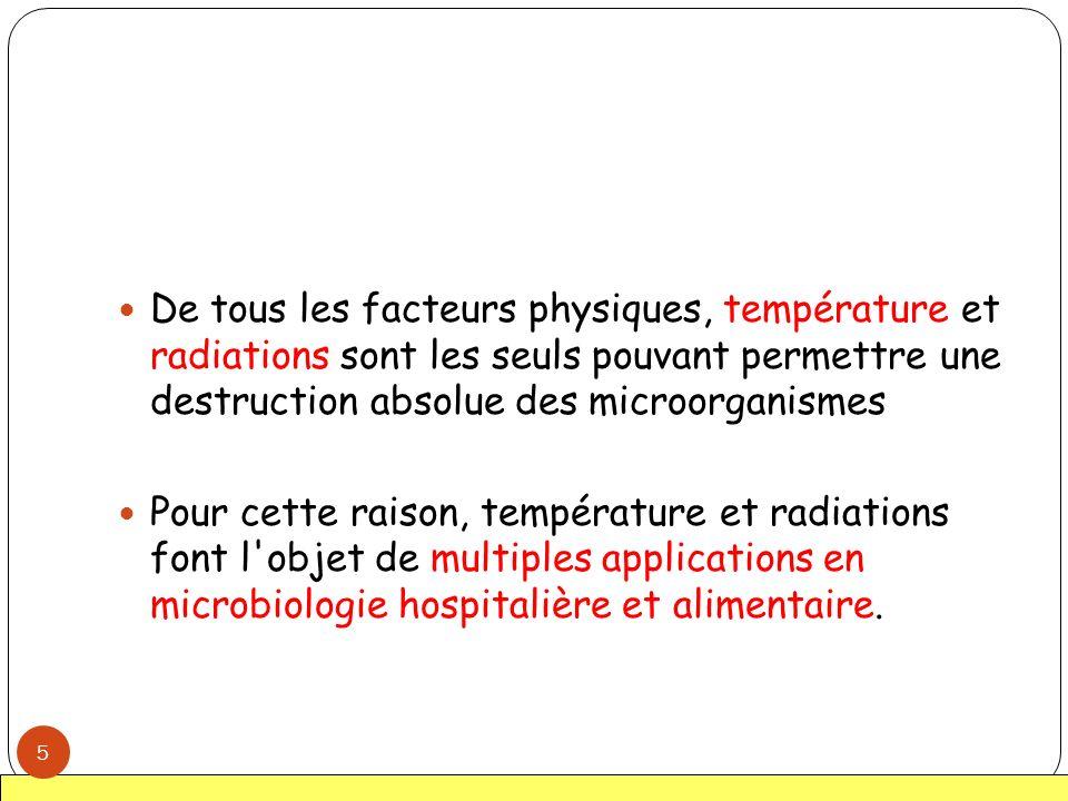 De tous les facteurs physiques, température et radiations sont les seuls pouvant permettre une destruction absolue des microorganismes