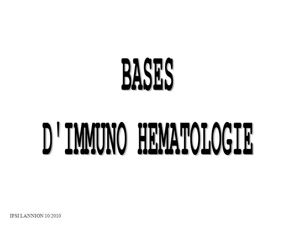 BASES D IMMUNO HEMATOLOGIE