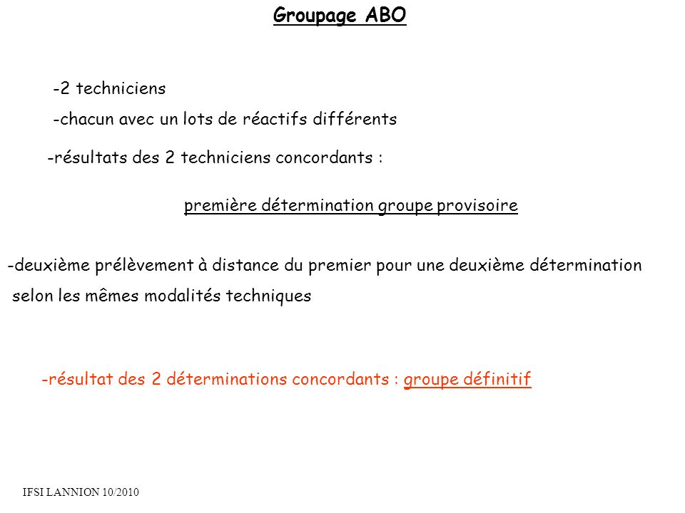 Groupage ABO -2 techniciens