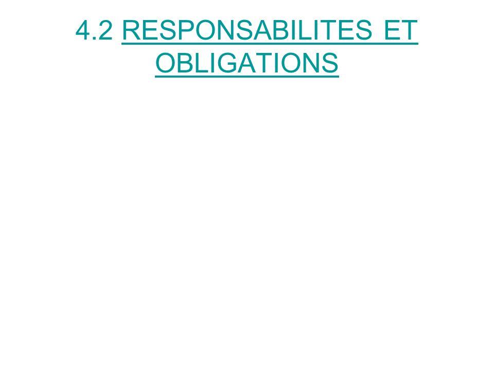 4.2 RESPONSABILITES ET OBLIGATIONS