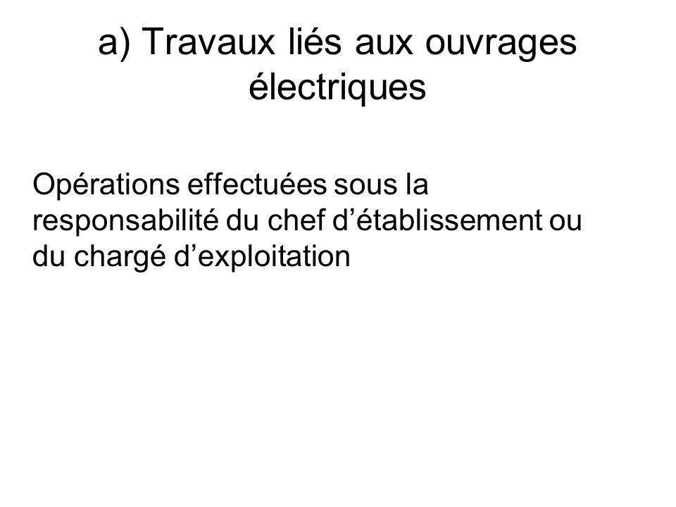 a) Travaux liés aux ouvrages électriques