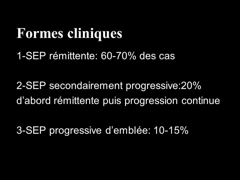 Formes cliniques 1-SEP rémittente: 60-70% des cas
