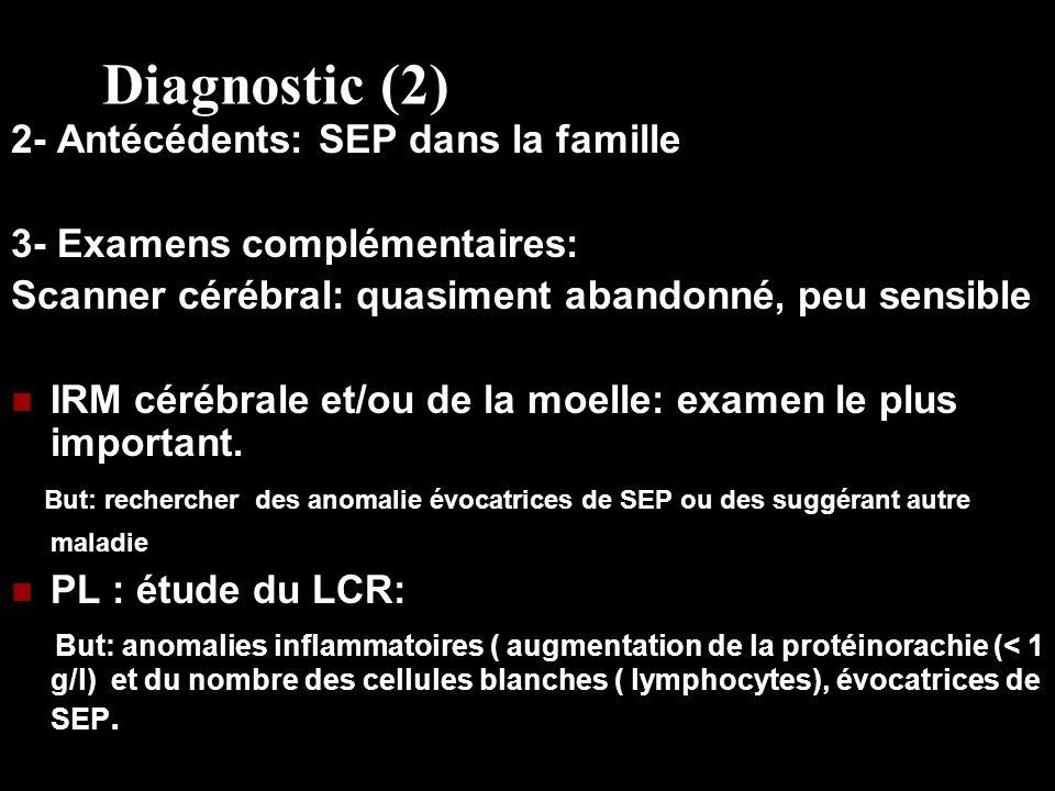 Diagnostic (2) 2- Antécédents: SEP dans la famille