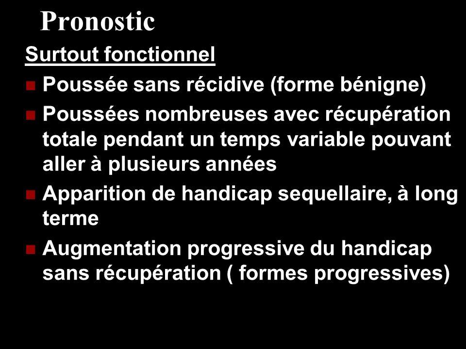 Pronostic Surtout fonctionnel Poussée sans récidive (forme bénigne)