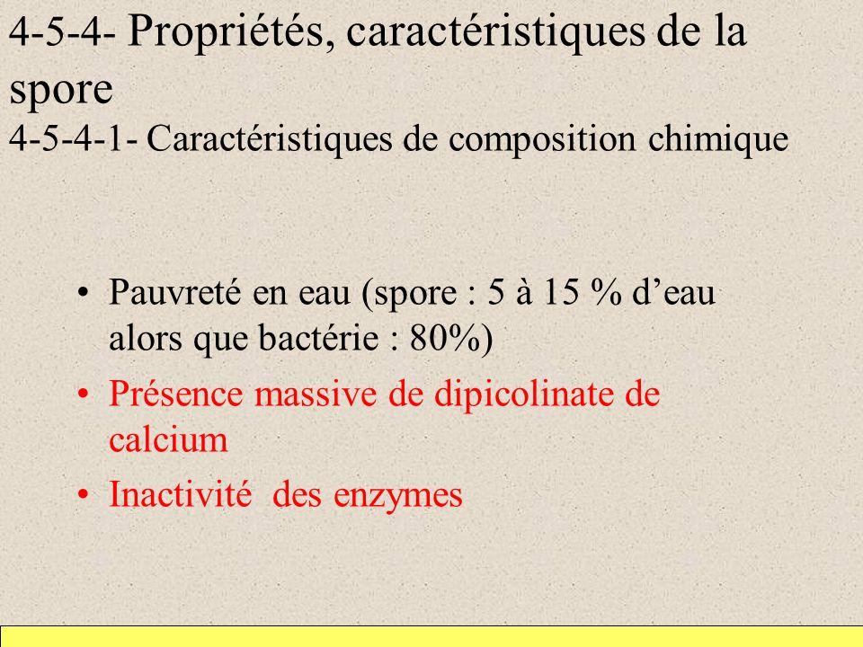 4-5-4- Propriétés, caractéristiques de la spore 4-5-4-1- Caractéristiques de composition chimique