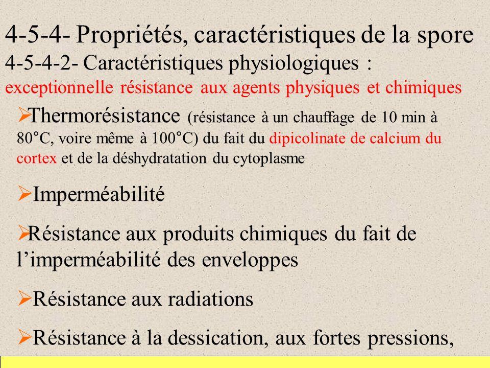 4-5-4- Propriétés, caractéristiques de la spore 4-5-4-2- Caractéristiques physiologiques : exceptionnelle résistance aux agents physiques et chimiques