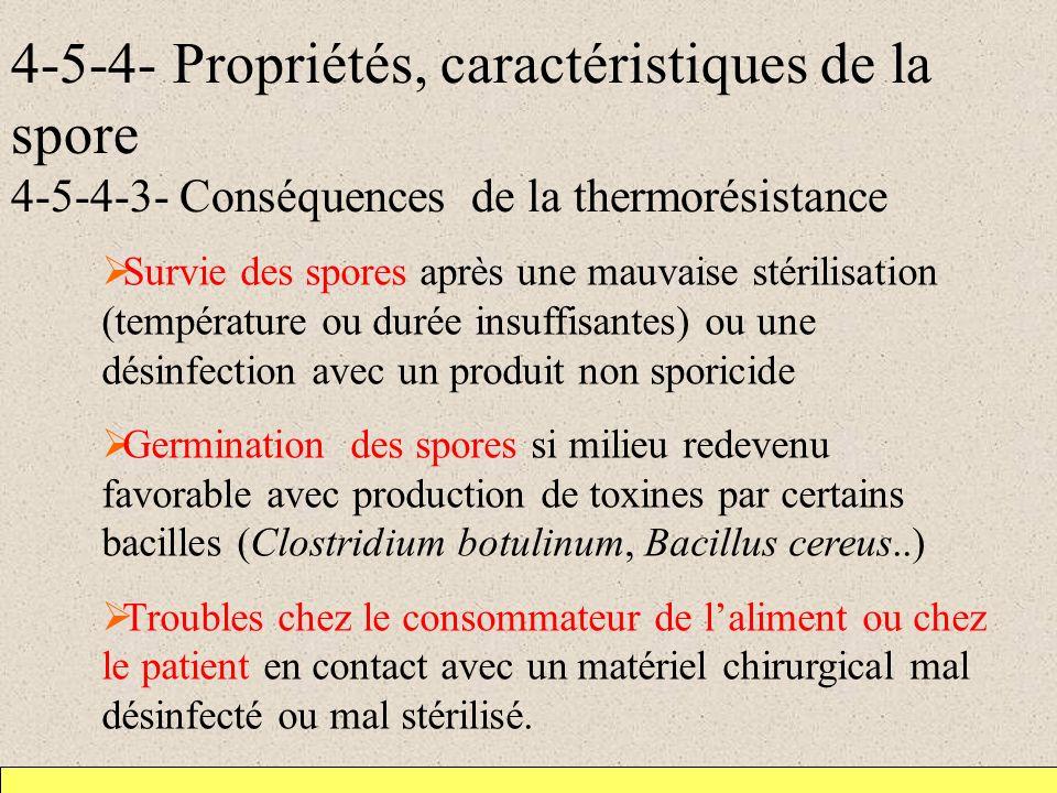4-5-4- Propriétés, caractéristiques de la spore 4-5-4-3- Conséquences de la thermorésistance