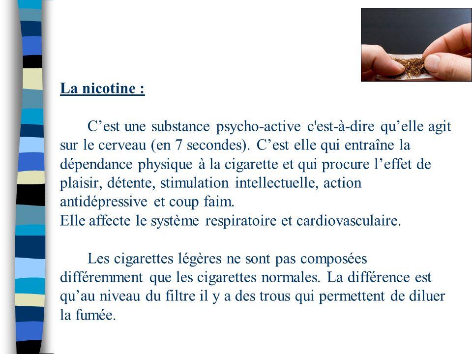 La nicotine : C'est une substance psycho-active c est-à-dire qu'elle agit sur le cerveau (en 7 secondes).