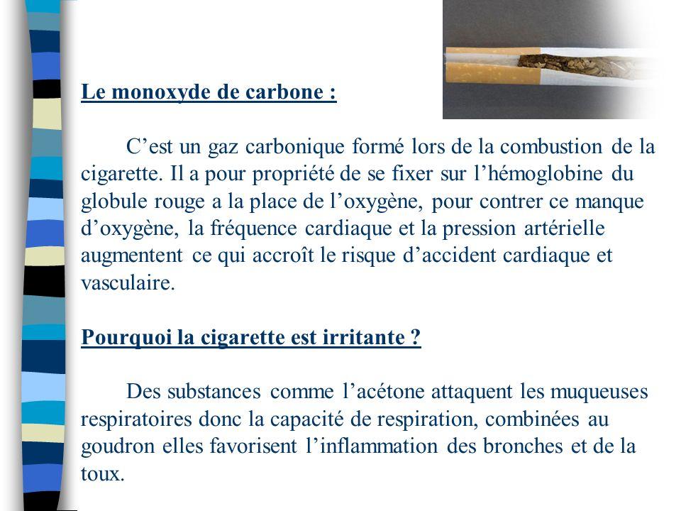 Le monoxyde de carbone : C'est un gaz carbonique formé lors de la combustion de la cigarette.