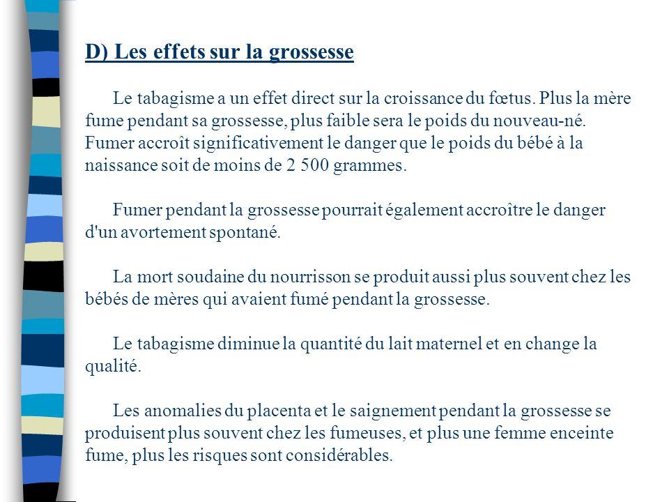 D) Les effets sur la grossesse Le tabagisme a un effet direct sur la croissance du fœtus.