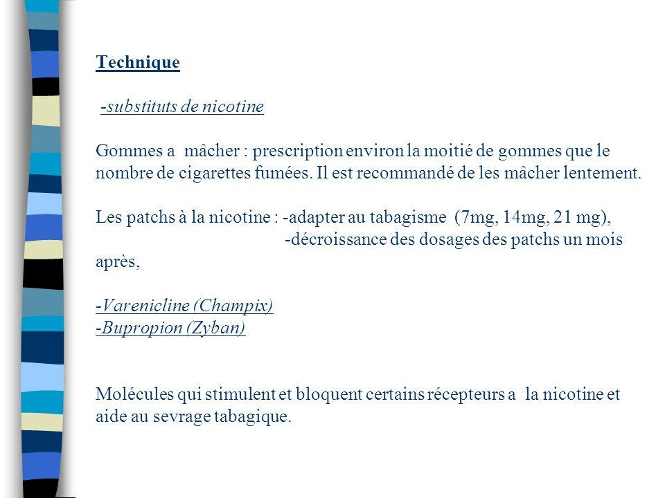 Technique -substituts de nicotine Gommes a mâcher : prescription environ la moitié de gommes que le nombre de cigarettes fumées.