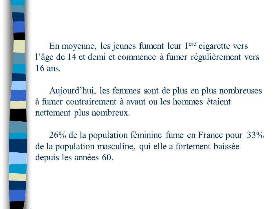 En moyenne, les jeunes fument leur 1ère cigarette vers l'âge de 14 et demi et commence à fumer régulièrement vers 16 ans.