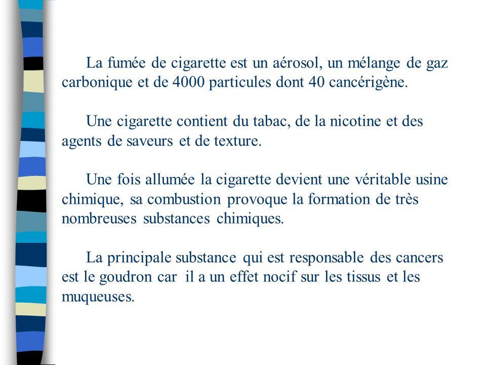 La fumée de cigarette est un aérosol, un mélange de gaz carbonique et de 4000 particules dont 40 cancérigène.