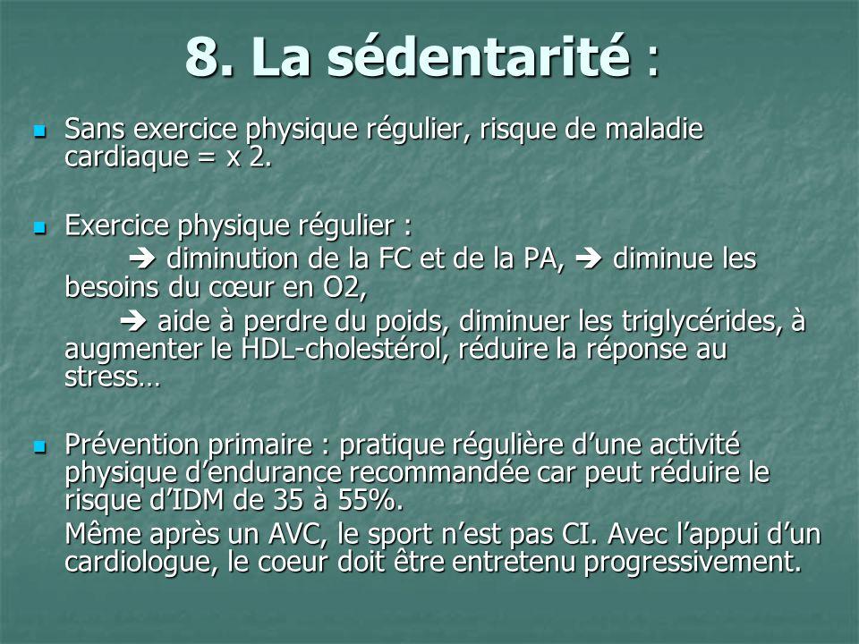8. La sédentarité : Sans exercice physique régulier, risque de maladie cardiaque = x 2. Exercice physique régulier :