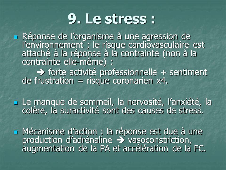 9. Le stress :