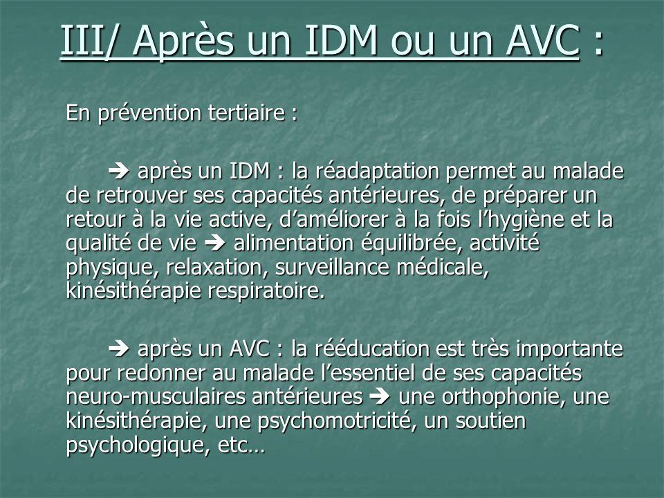 III/ Après un IDM ou un AVC :