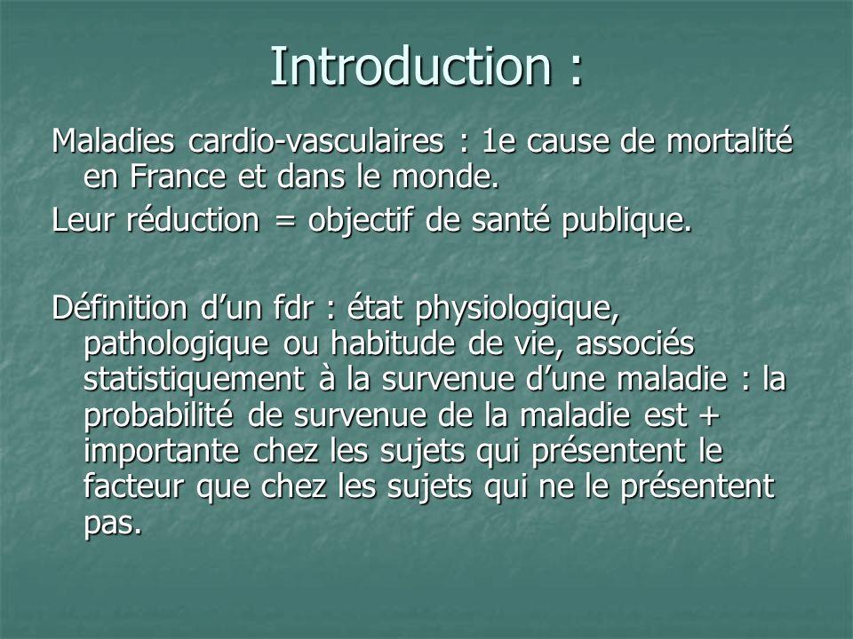 Introduction : Maladies cardio-vasculaires : 1e cause de mortalité en France et dans le monde. Leur réduction = objectif de santé publique.