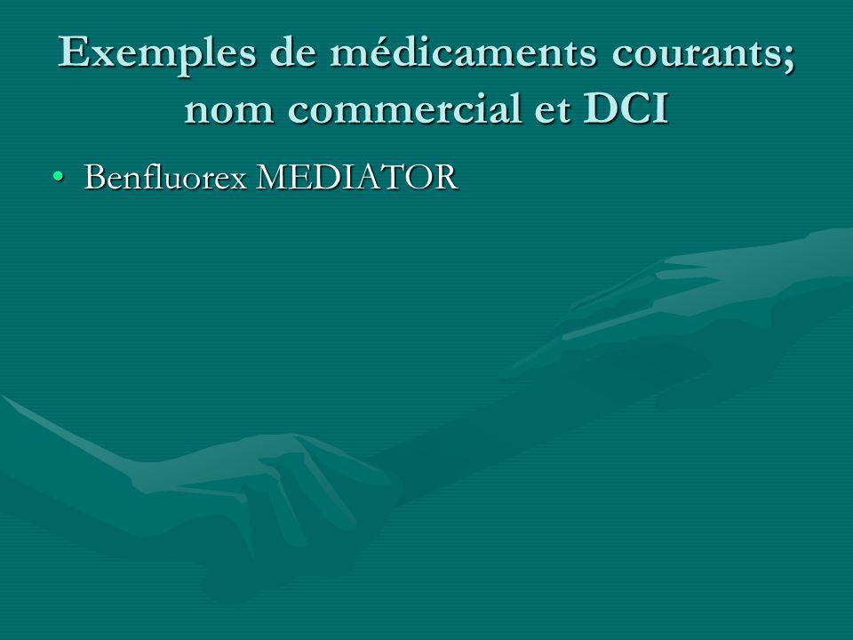Exemples de médicaments courants; nom commercial et DCI