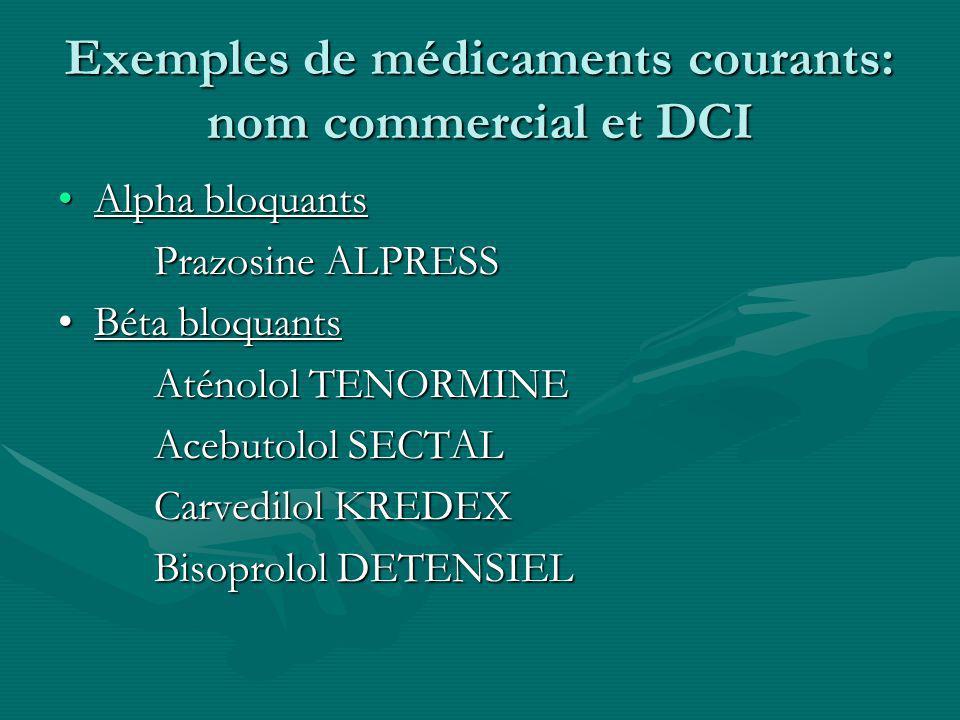 Exemples de médicaments courants: nom commercial et DCI