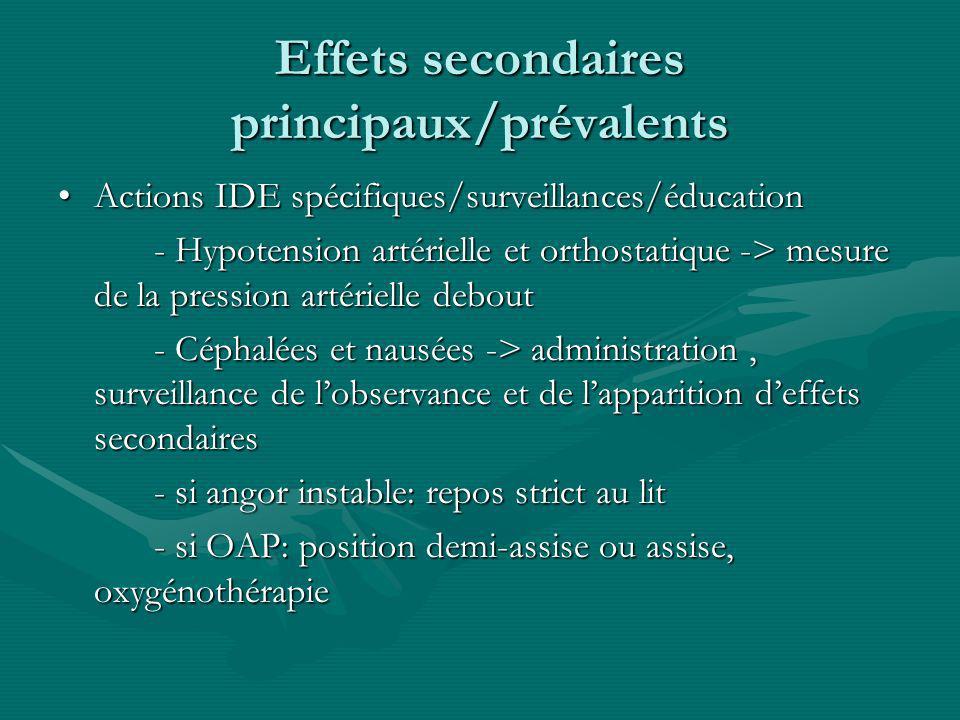 Effets secondaires principaux/prévalents