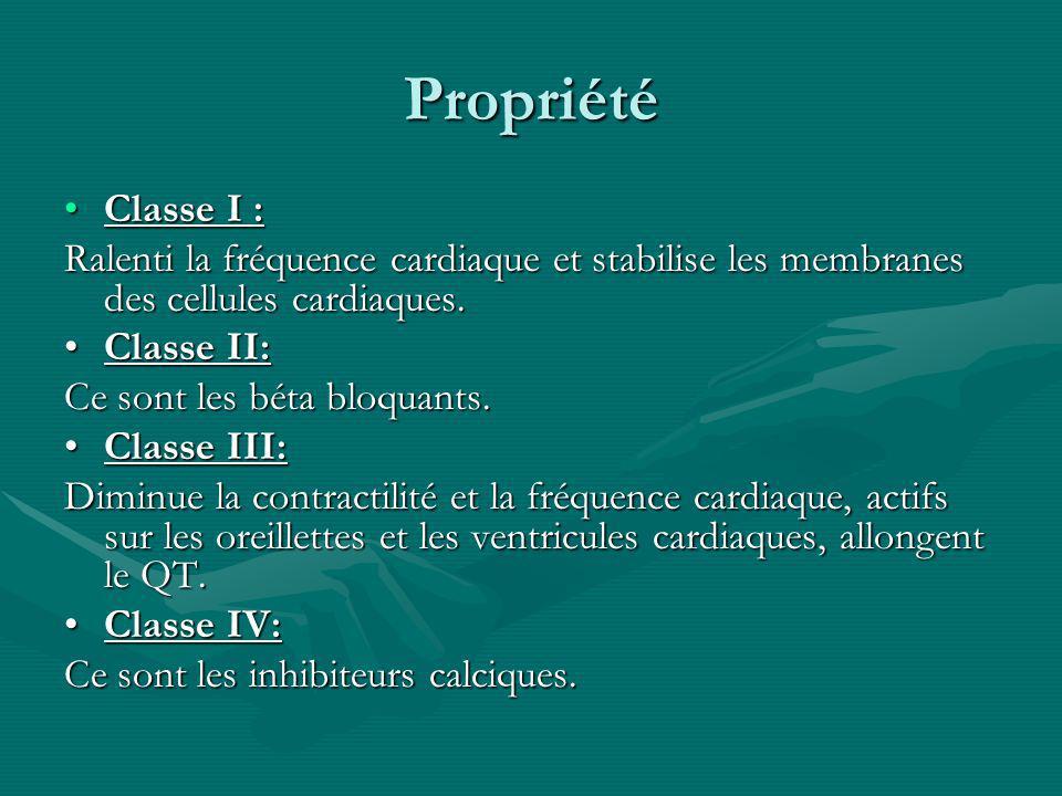 Propriété Classe I : Ralenti la fréquence cardiaque et stabilise les membranes des cellules cardiaques.