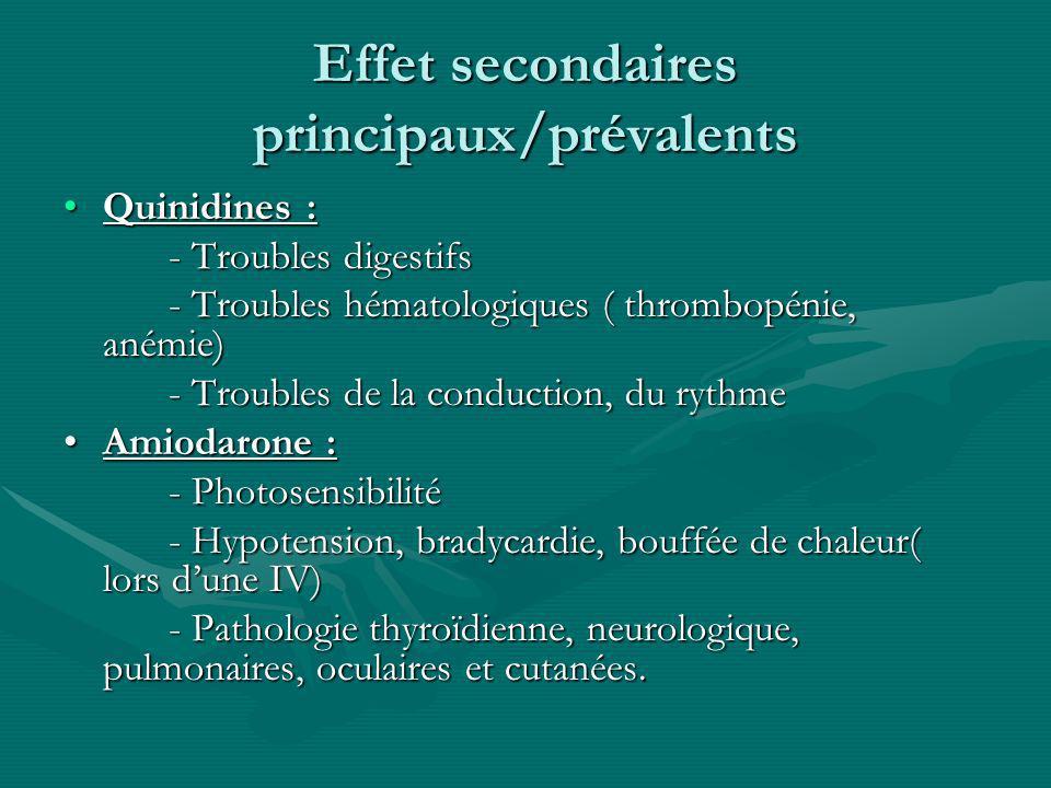 Effet secondaires principaux/prévalents